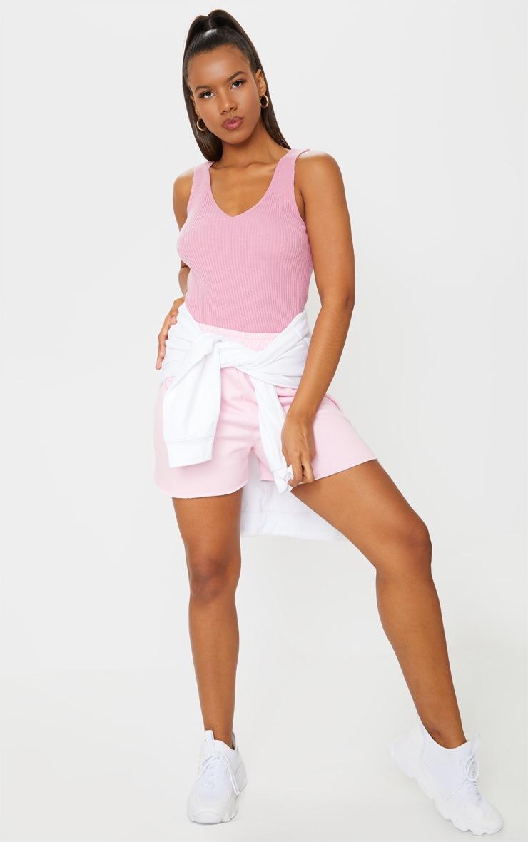 Pink Ribbed V Neck Knitted Vest 3