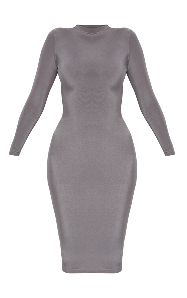 Charcoal Grey Second Skin Slinky High Neck Midaxi Dress 3