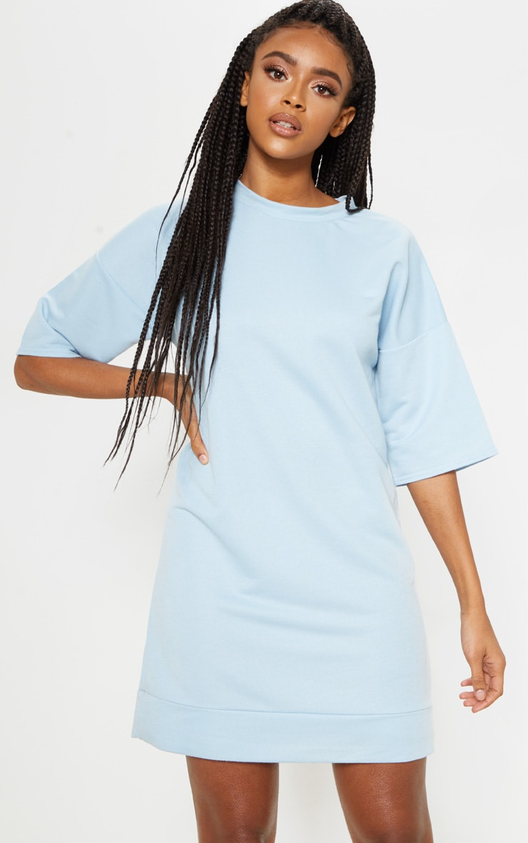 Baby Blue Short Sleeve Sweat T-shirt Dress 1