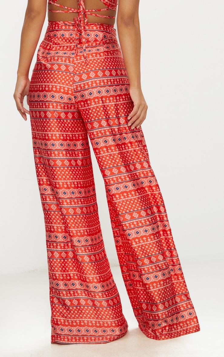 Petite Orange Paisley Printed Wide Leg Trousers 4