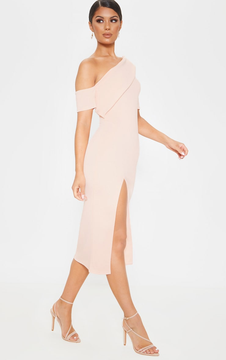 Nude Bardot Drape Detail Split Midi Dress 4