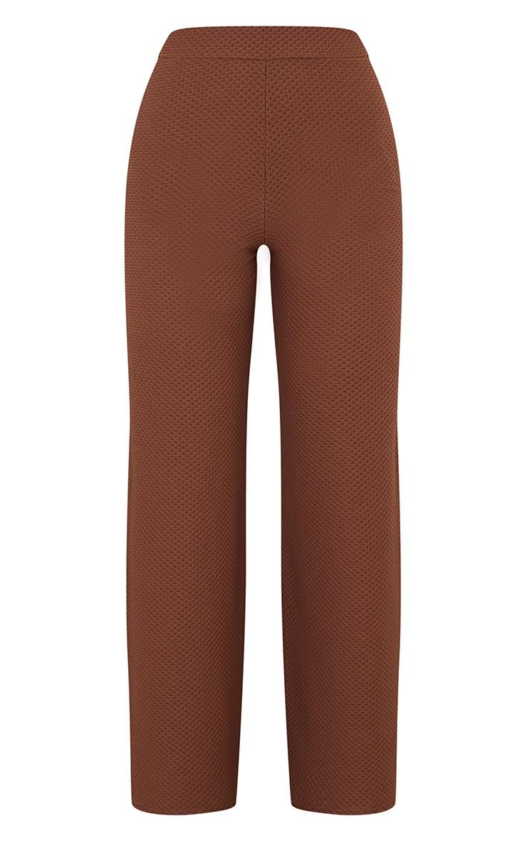 Brown Lounge Textured Straight Leg Pants 5
