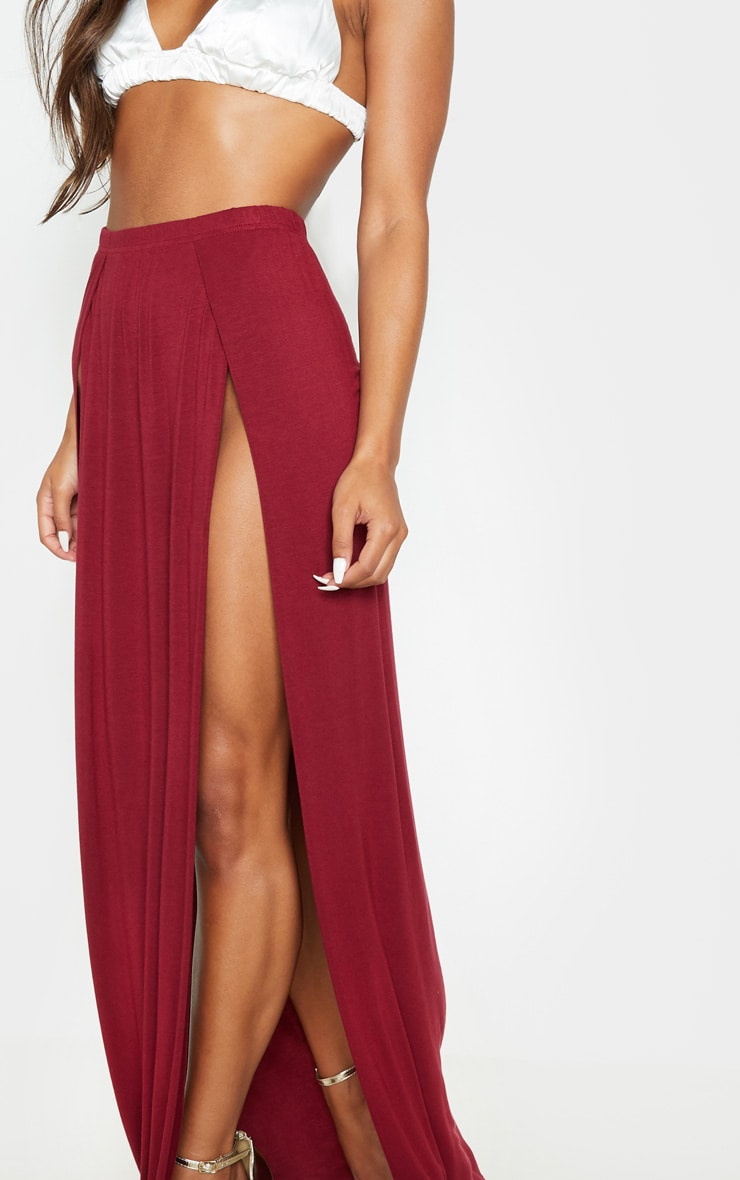 Burgundy Double Split Maxi Skirt 5