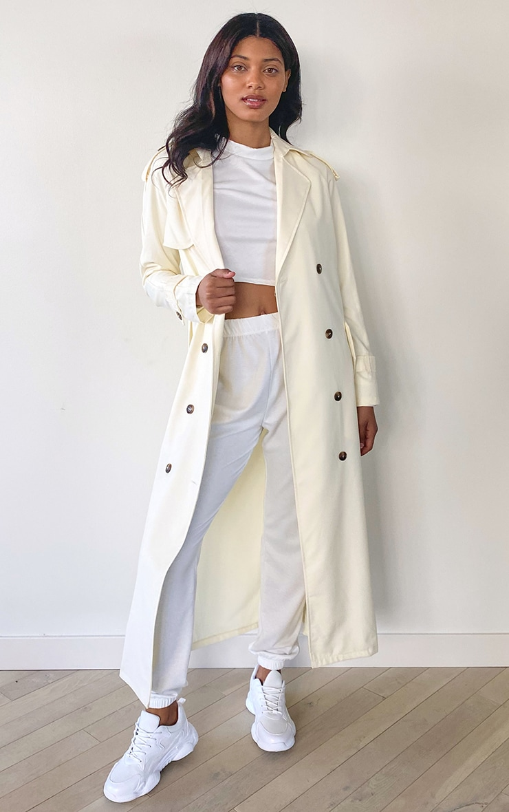Tall Cream Woven Oversized Trench Jacket 3