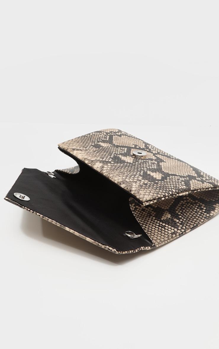 Brown Snake PU Envelope Clutch Bag 4
