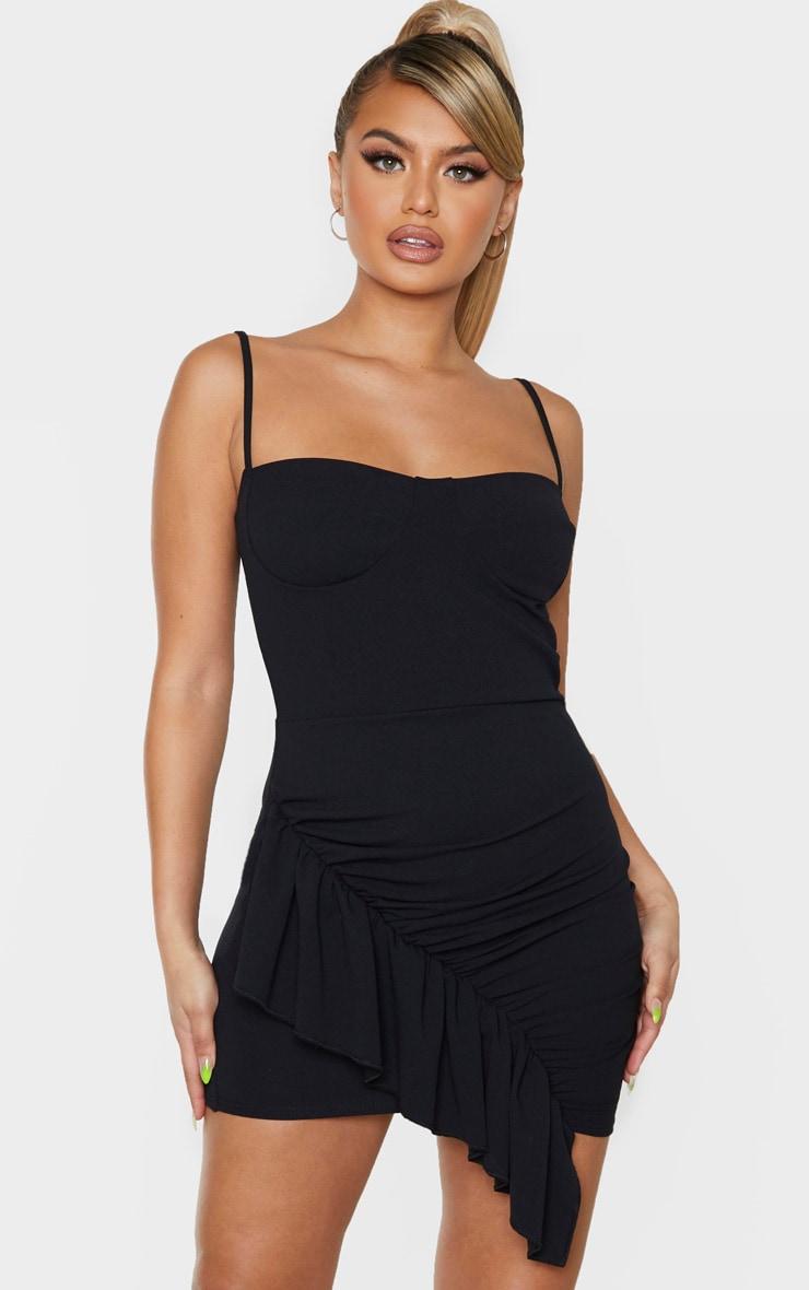 Black Strappy Ruched Frill Hem Detail Bodycon Dress 1