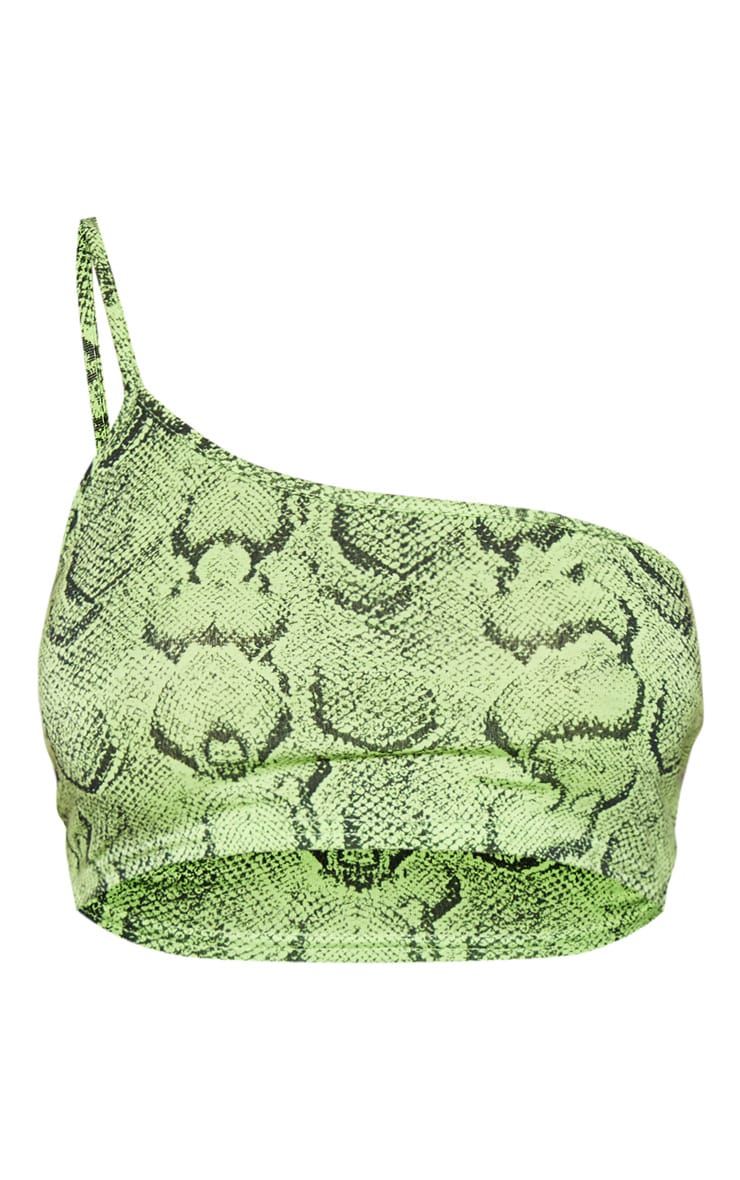 Basic Lime Snake Printed One Shoulder Strappy Crop Top 4