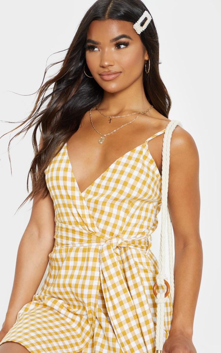 Mustard Check Print Wrap Strappy Shift Dress 5