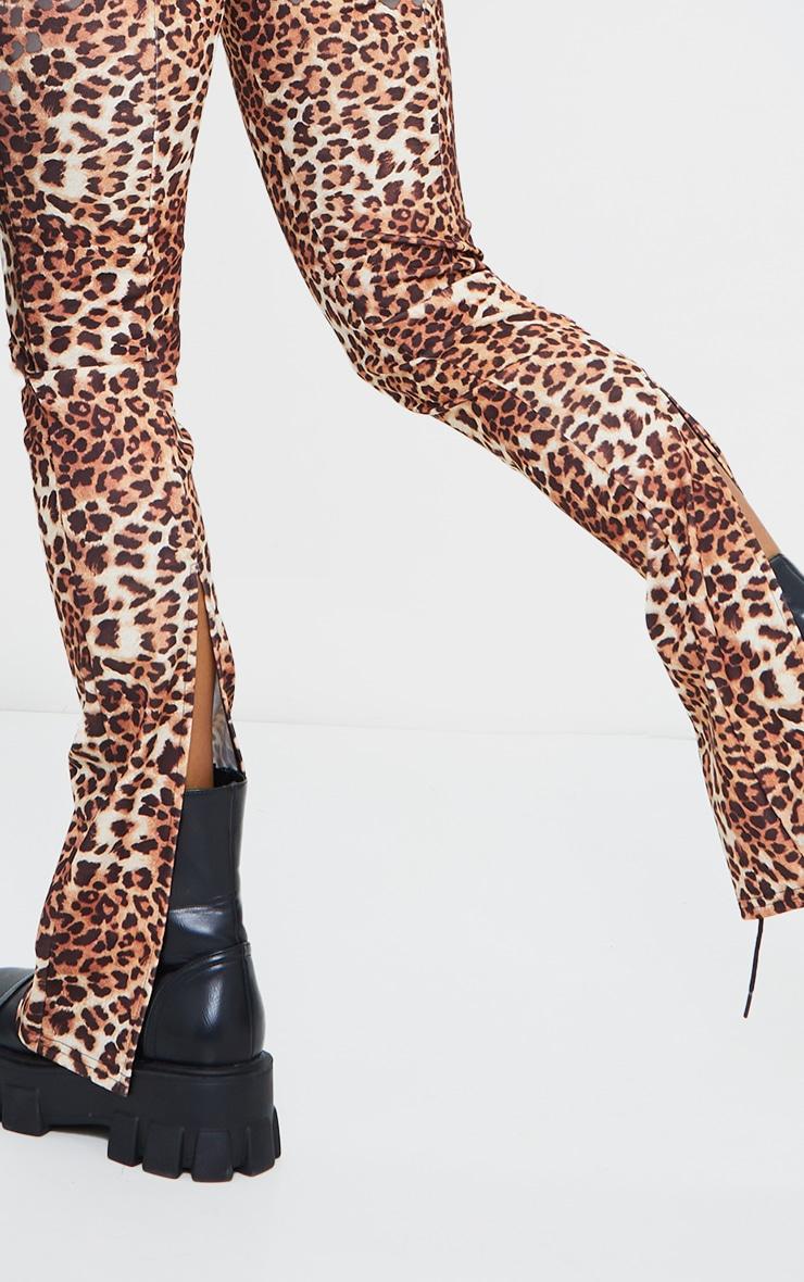 Multi Leopard Back Split Hem Skinny Trousers 4