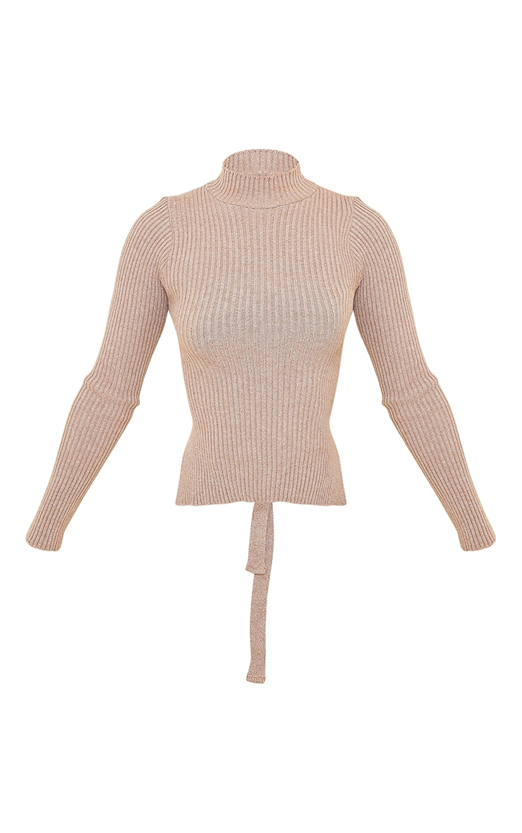 Mocha Tie Back Knitted High Neck Top 5