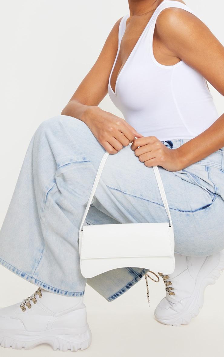 White PU Flap Over Baguette Shoulder Bag image 1