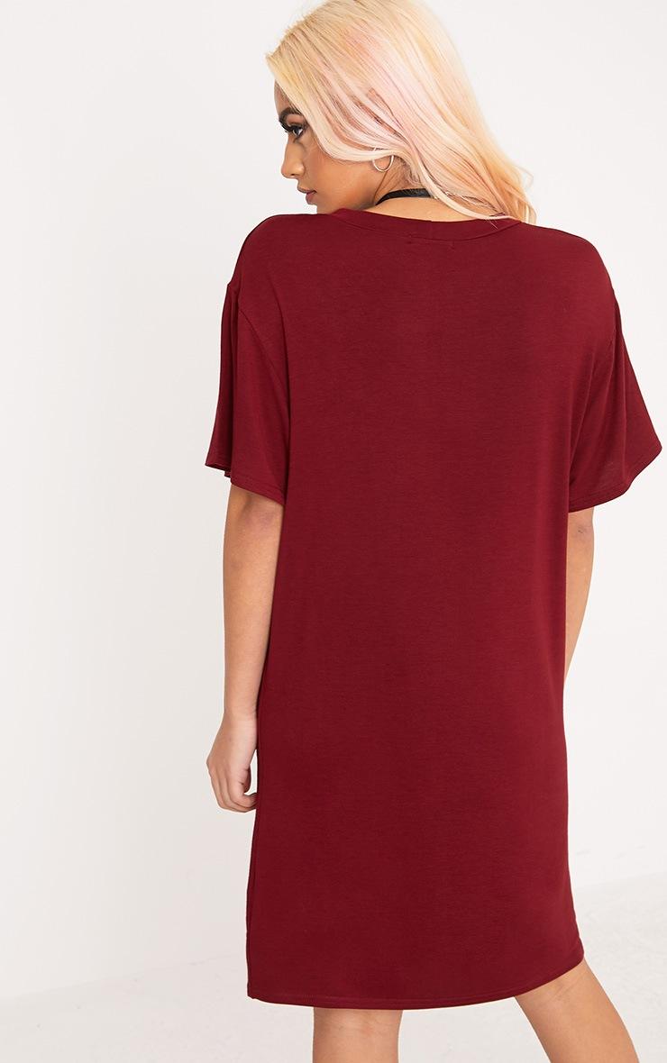 Fearless Rebellion Burgundy T Shirt Dress  2