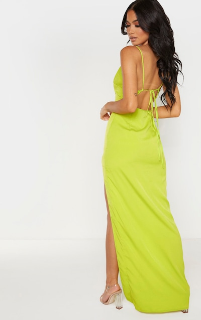 Lime Strappy Cross Back Maxi Dress