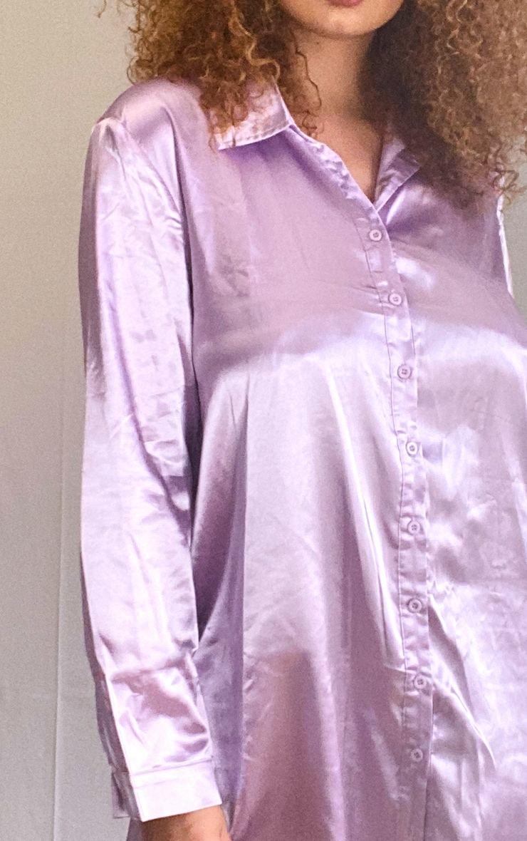 Plus Lilac Satin Button Front Shirt Dress 4