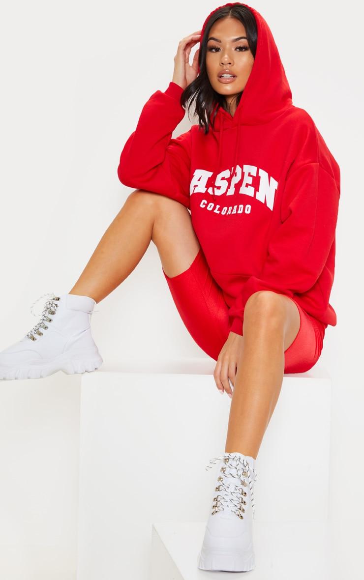 Red Aspen Slogan Print Hoodie 1