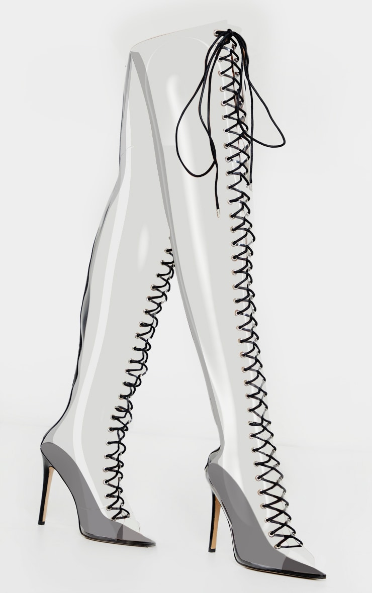 Clear Lace Up Thigh High Boots 3