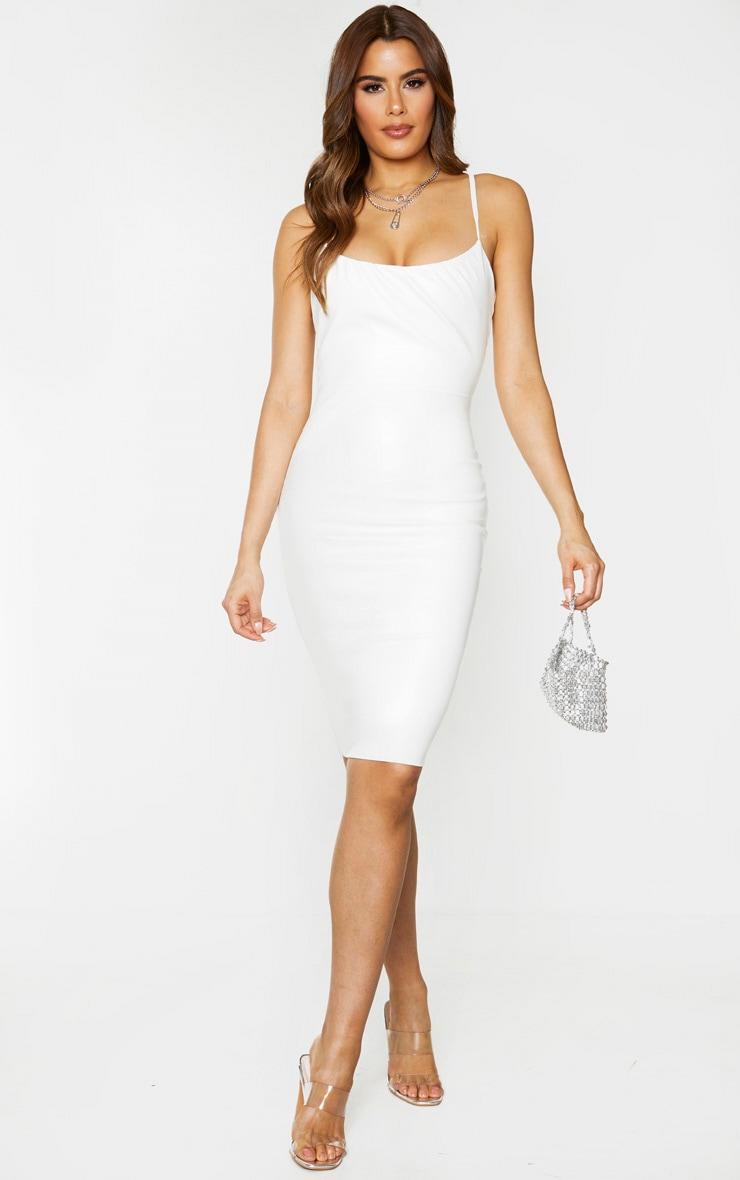 Tall Cream PU Ruched Bust Midi Dress 1