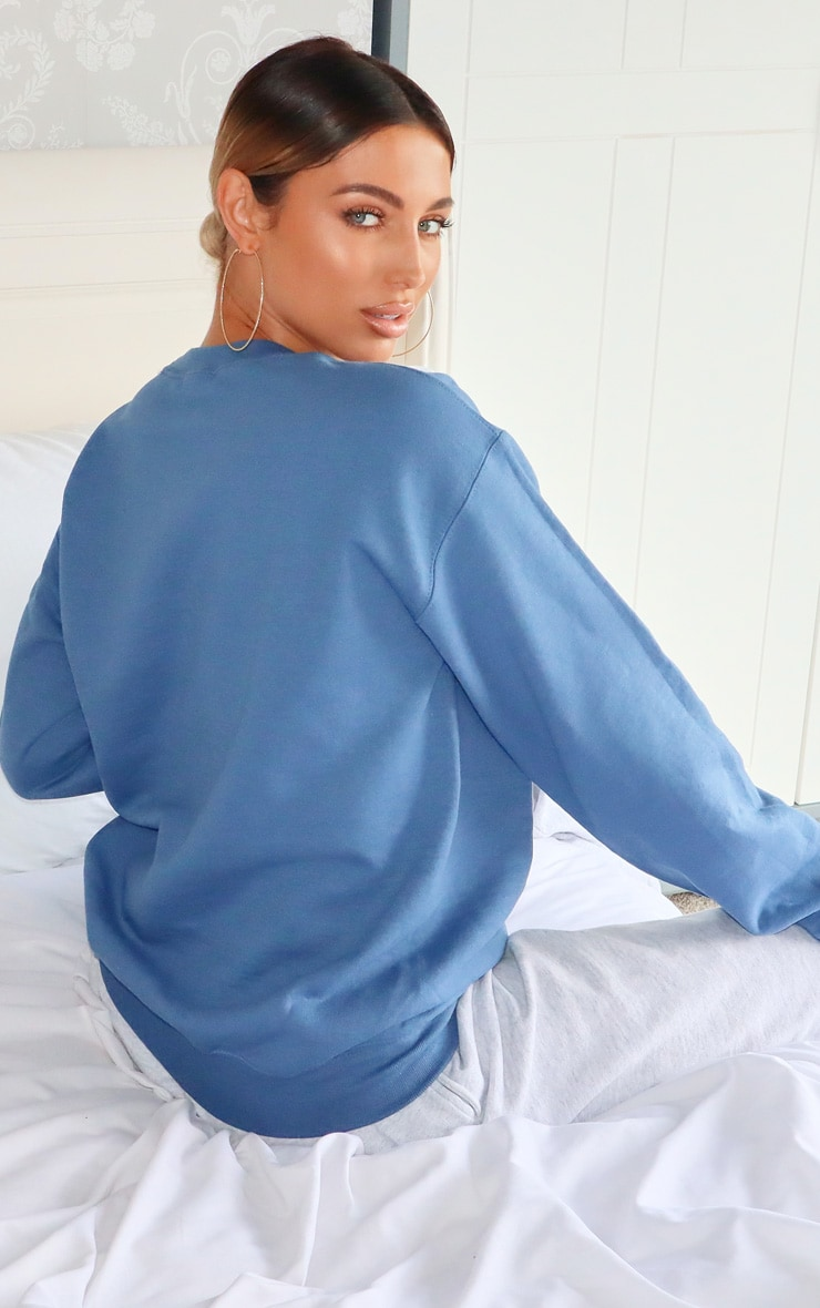 Blue Stay At Home Slogan Sweater 2