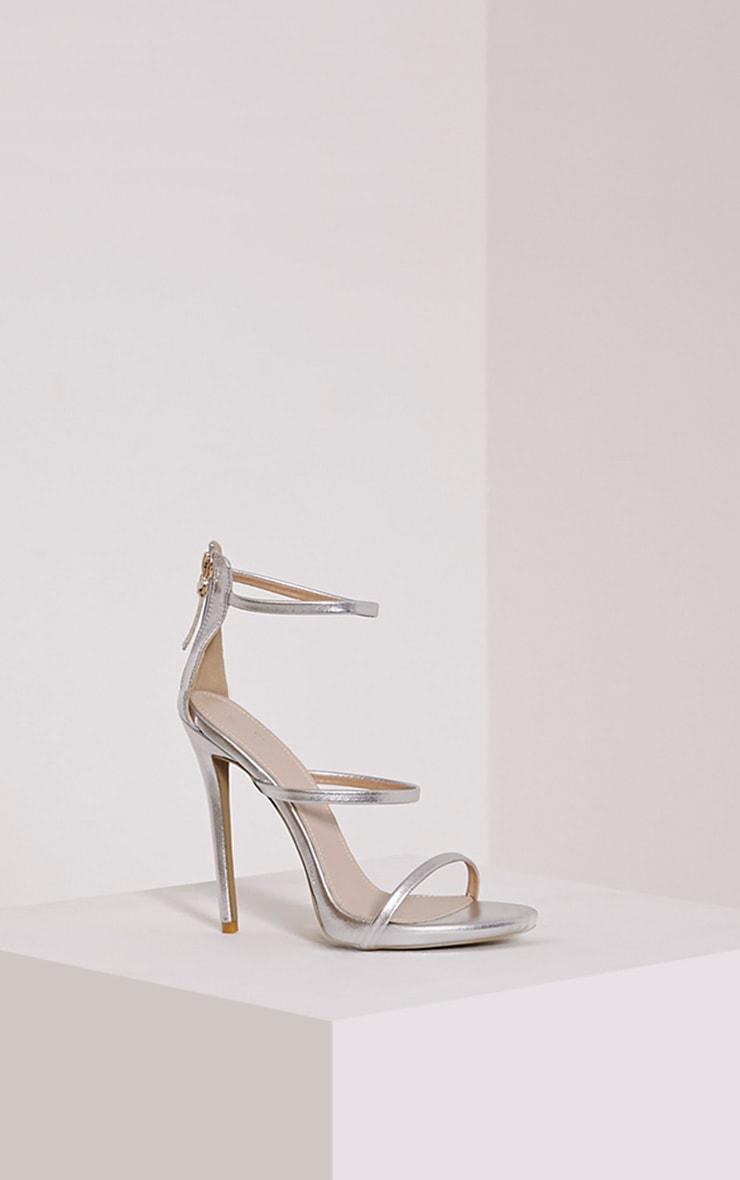 Asara Silver Metallic Heeled Sandals 3