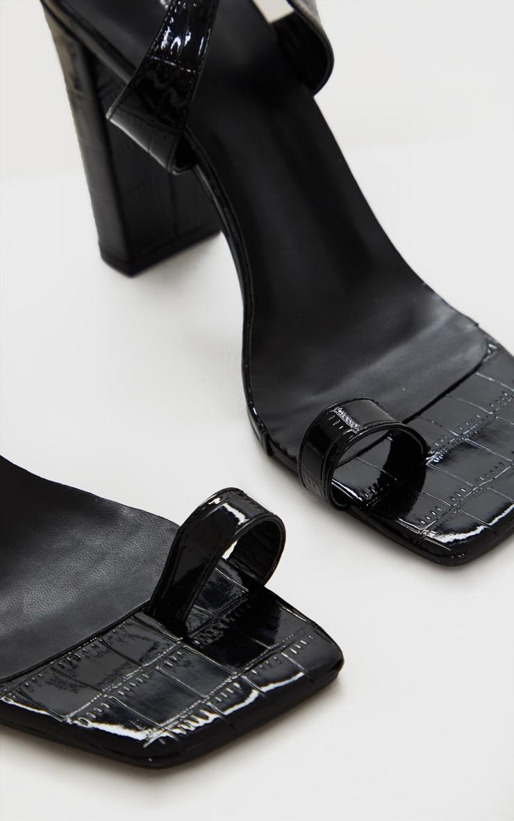 Black Toe Loop Block Heel Ankle Tie Heeled Sandal 5