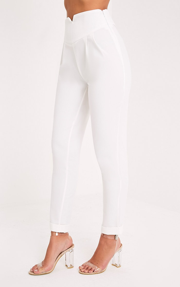 Elenor White High Waisted Tapered Trousers 4
