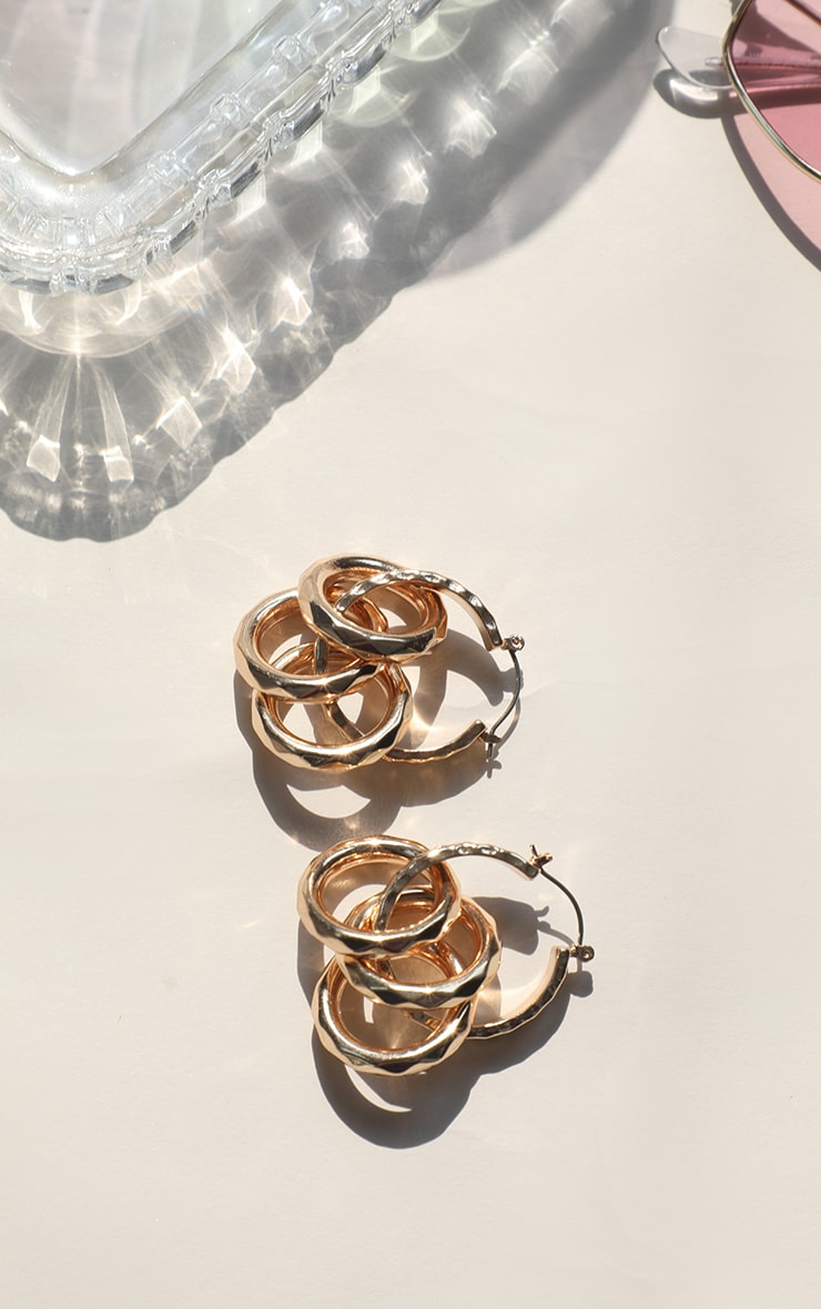 Gold Multi Hoop Statement Earrings 2