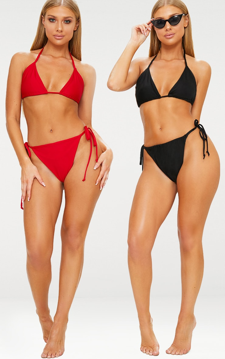 Red & Black 2 Pack Triangle Bikini Set by Prettylittlething