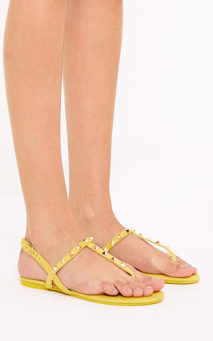 Jacques Yellow Studded Sandals  3