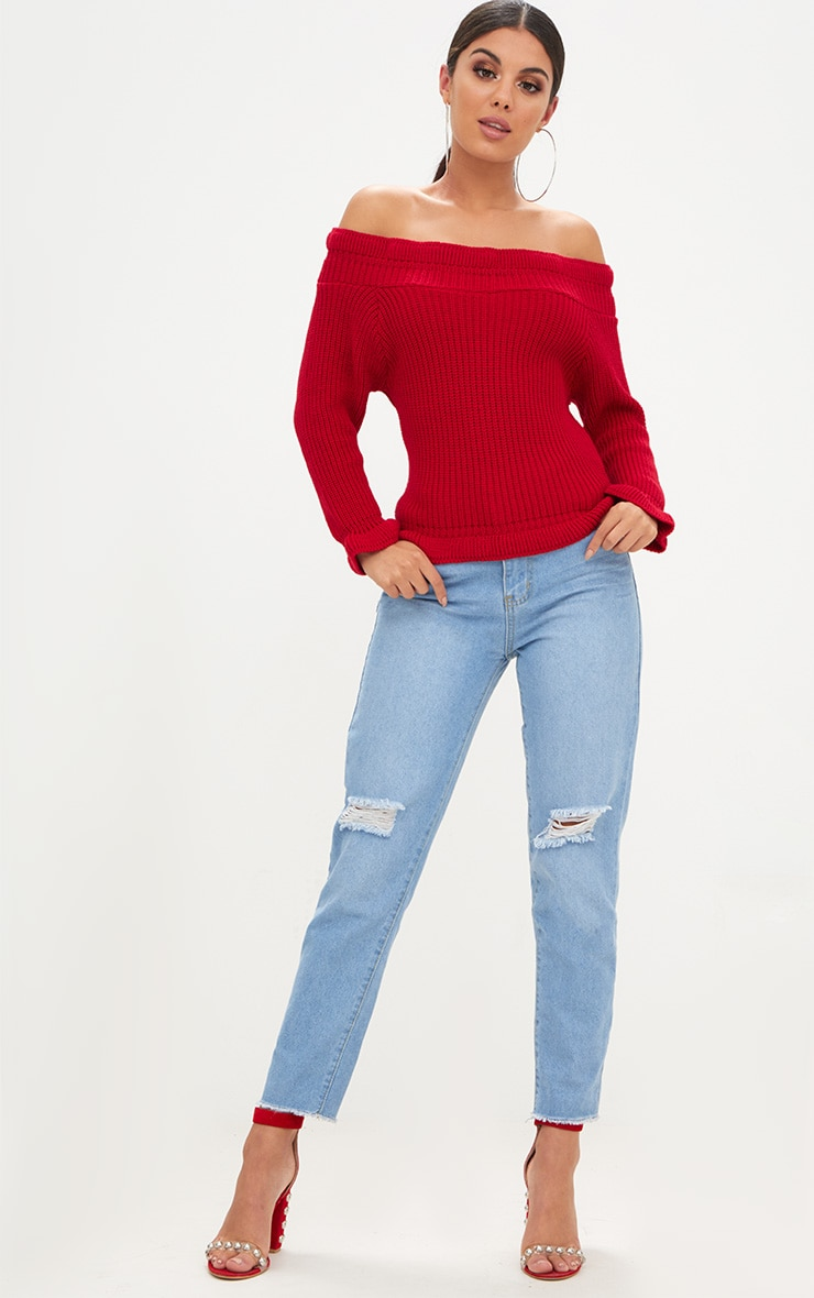 Red Frill Bardot Jumper 4