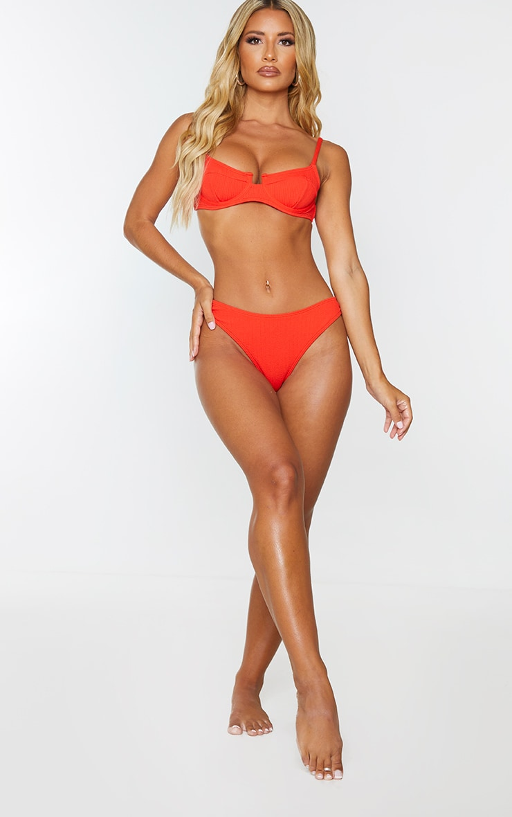 Red Underwired Crinkle Bikini Top 3