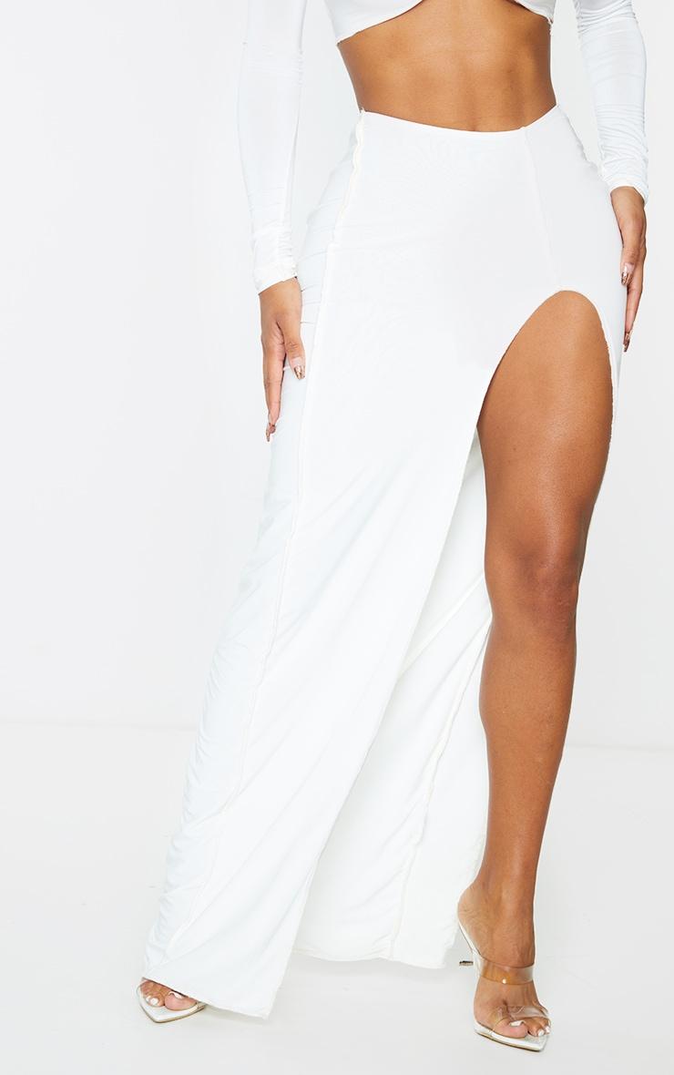 Shape Cream Slinky Split Front Maxi Skirt 2