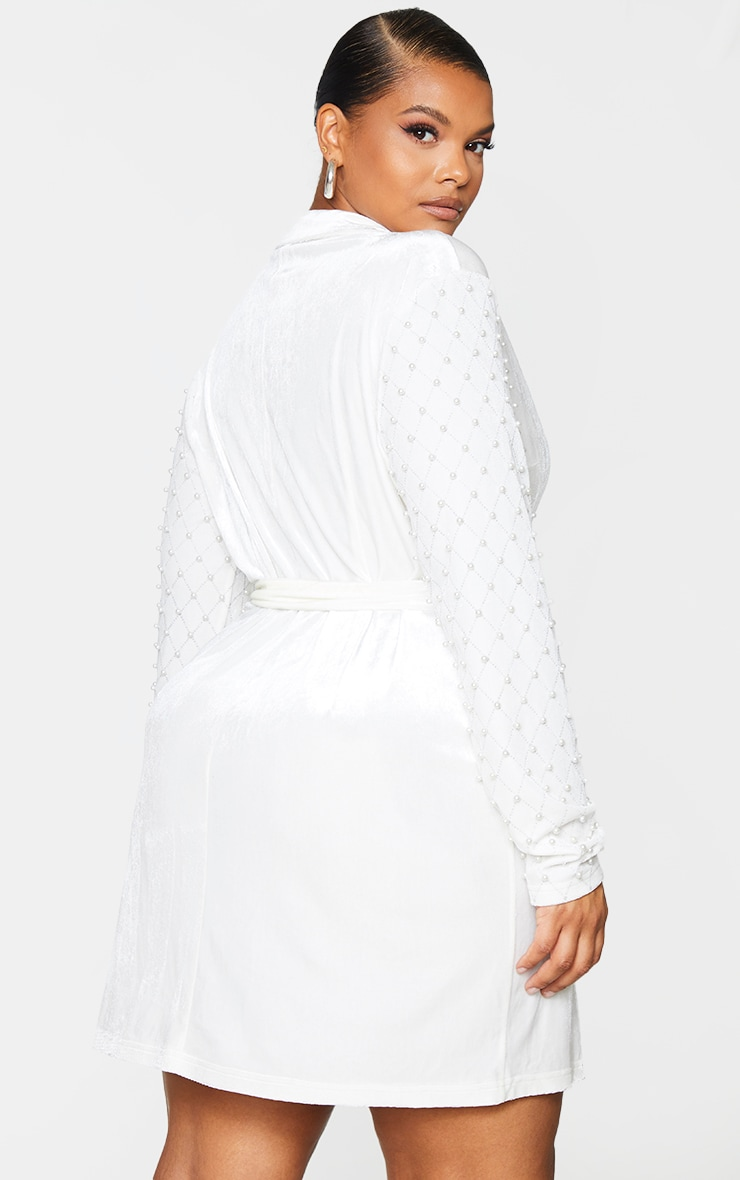Plus White Velvet Beaded Sleeve Bodycon Dress 2