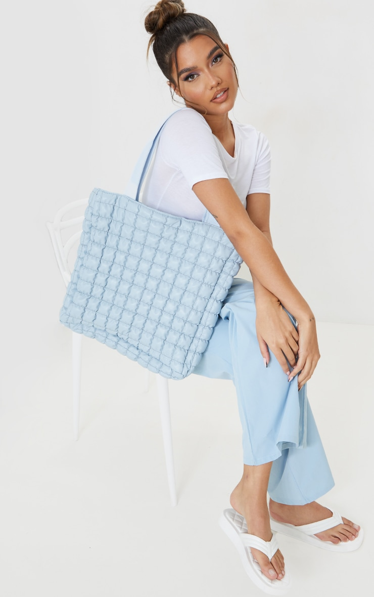 Baby Blue Square Quilted Tote Bag 1