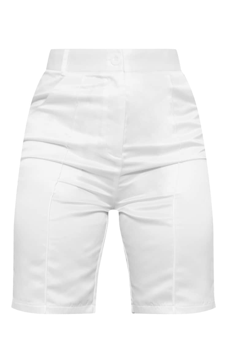 White Structured Satin Longline Shorts 6