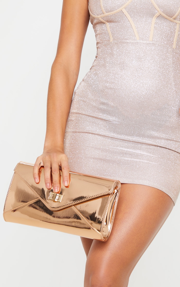 Rose Gold Metallic PU Twist Lock Clutch Bag 2
