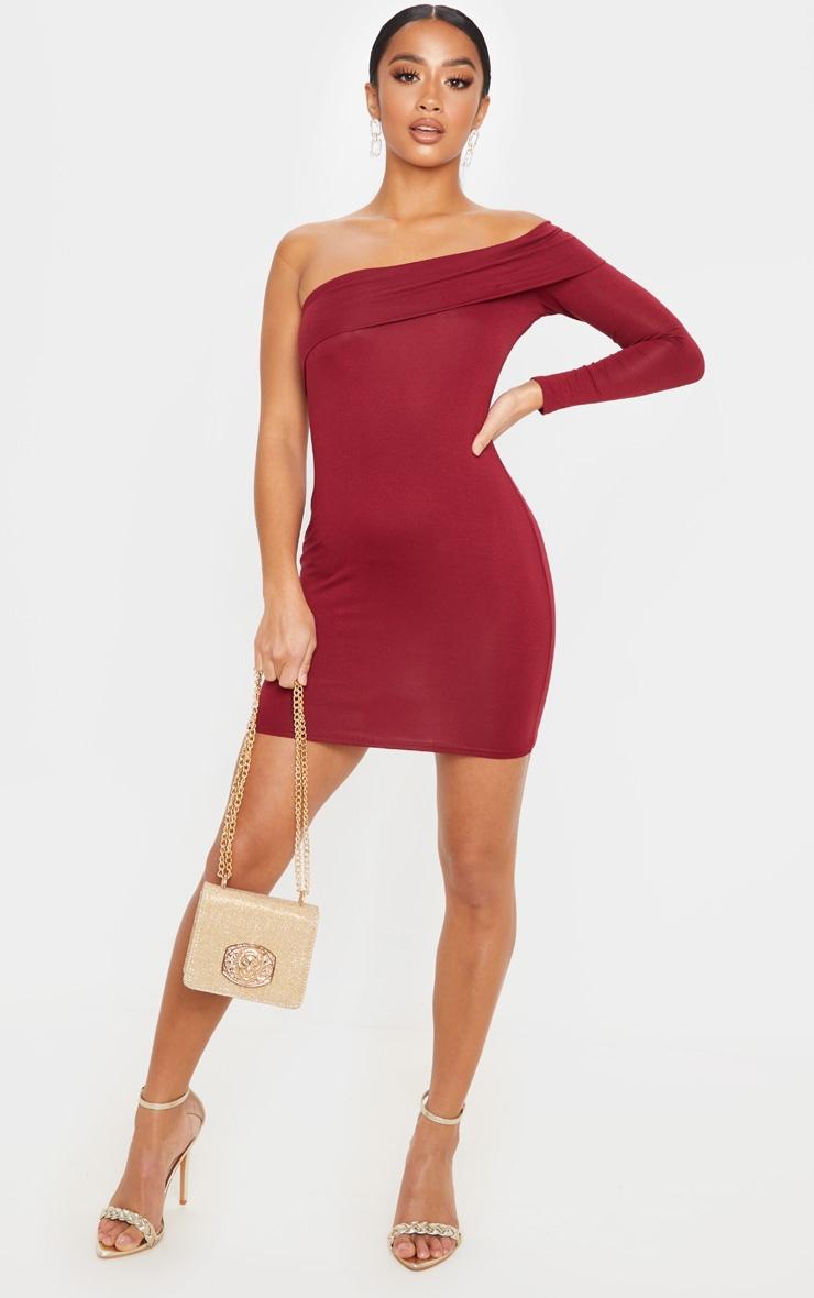 Petite Burgundy Bardot One Shoulder Jersey Bodycon Dress 1