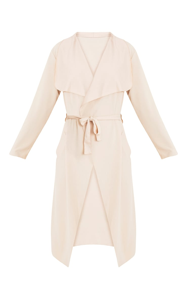 Livia veste effet cascade beige à ceinture 3