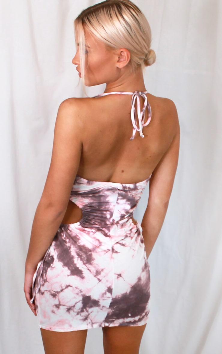 Multi Tie Dye Print Side Cut Out Strappy Bodycon Dress 2