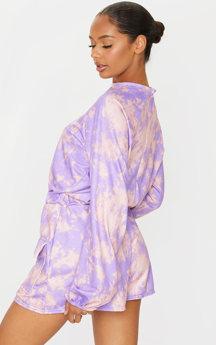 Purple Tie Dye Sweat Long Sleeve Pocket Playsuit 2