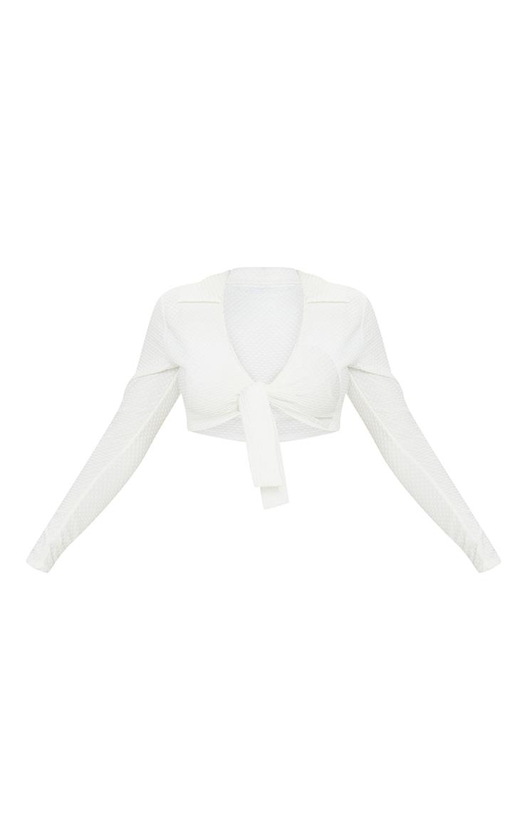 Cream Waffle Texture Tie Front Beach Shirt 5