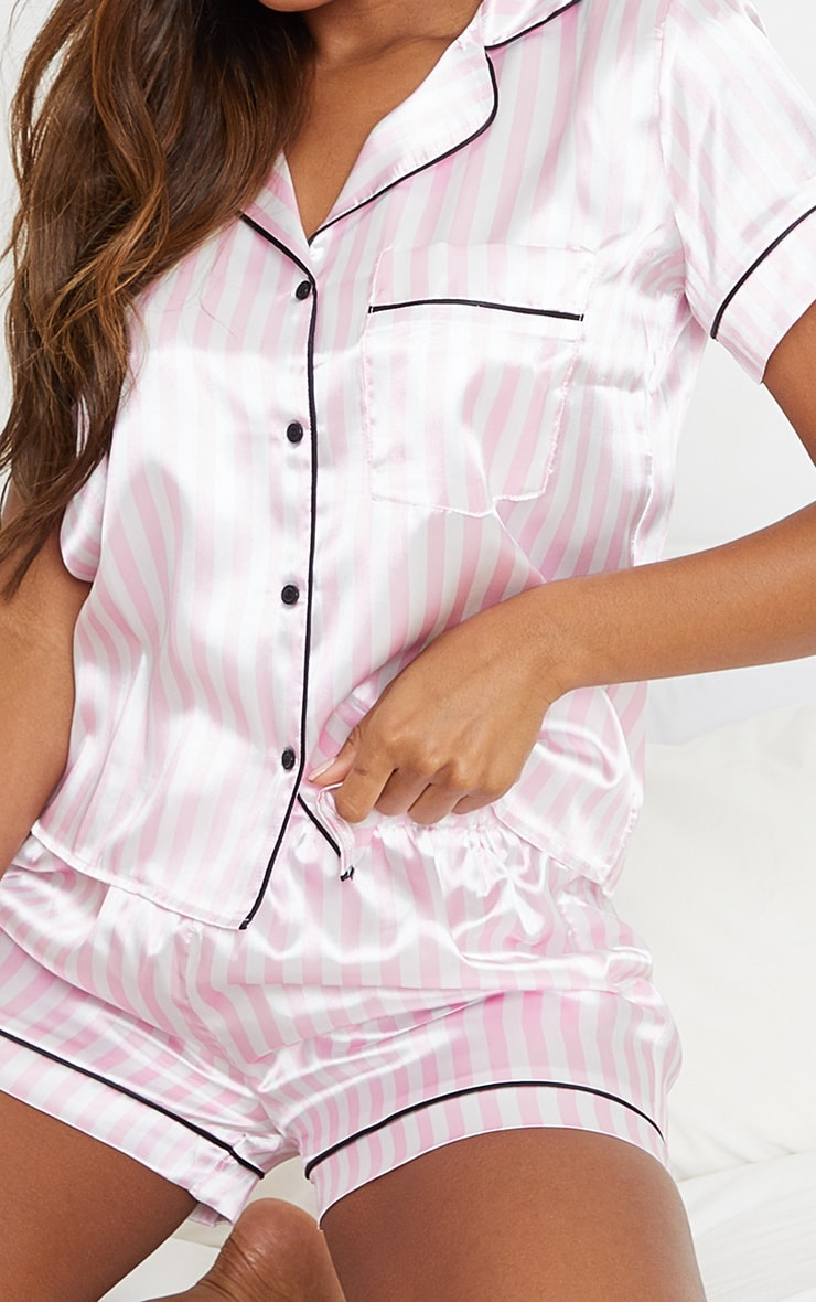 Pink And White Stripe Satin Short PJ Set 4