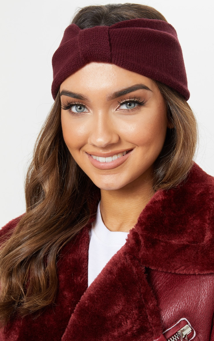 Burgundy Knitted Knot Headband 1