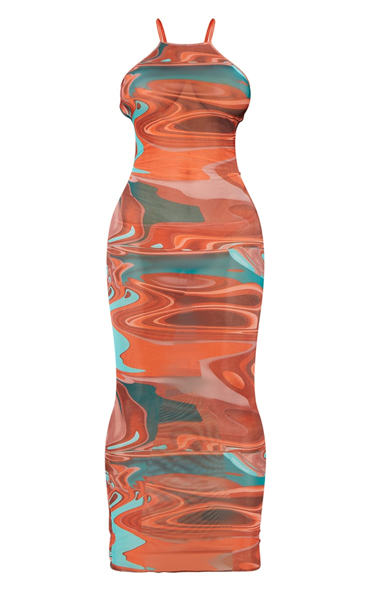 Shape Brown Marble Print Sheer Mesh Ring Detail Backless Midaxi Dress 5