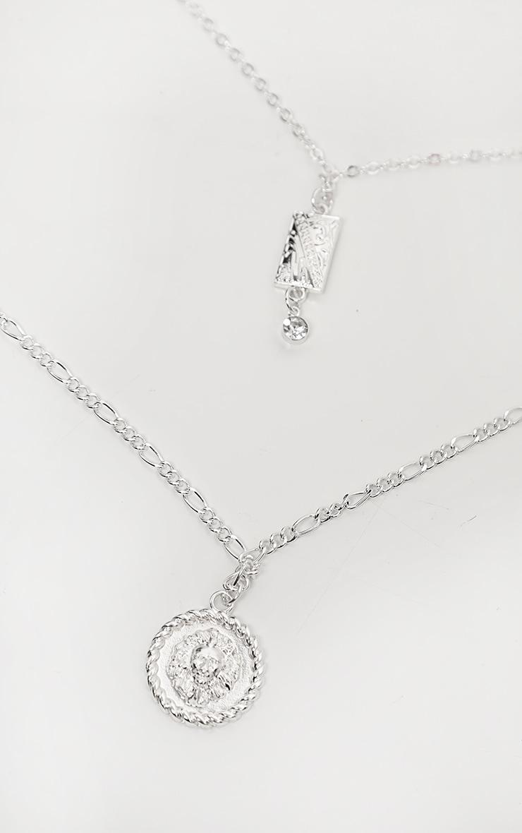 Silver Diamante Drop Lions Head Double Layering Necklace 3