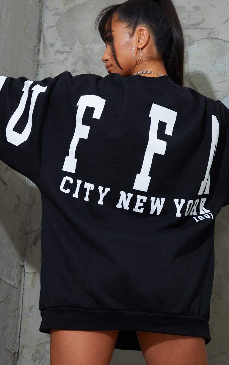 Petite Black Buffalo New York Slogan Sweater Dress 4