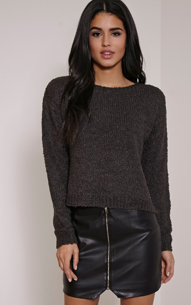 Karissa Charcoal Boucle Knitted Jumper 1