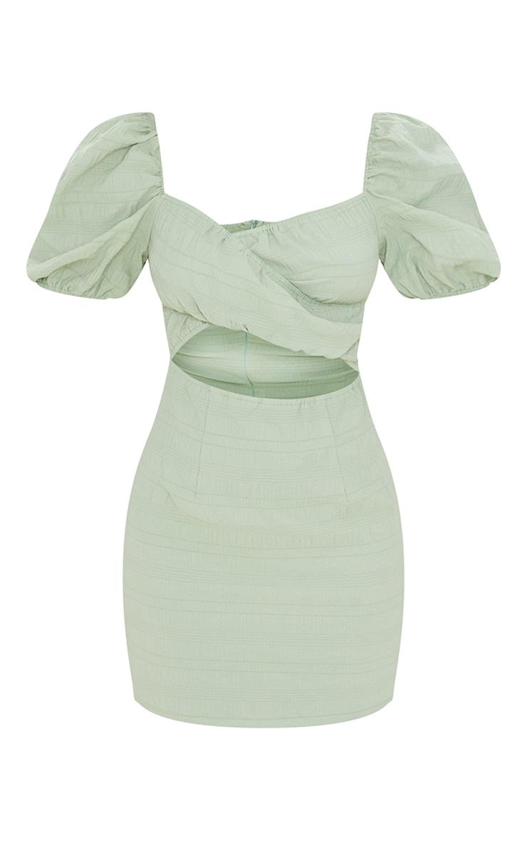 Sage Green Textured Linen Cut Out Puff Sleeve Shift Dress 5