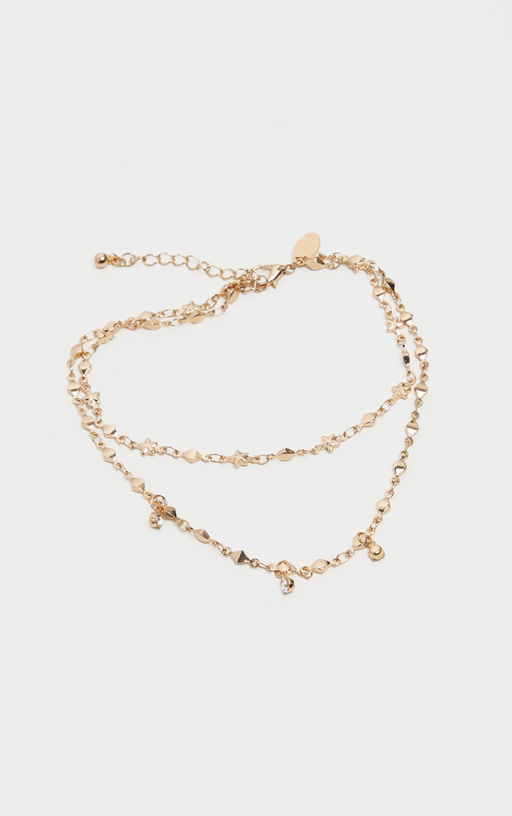 Gold Double Layer Stars And Diamante Chain Anklet 2