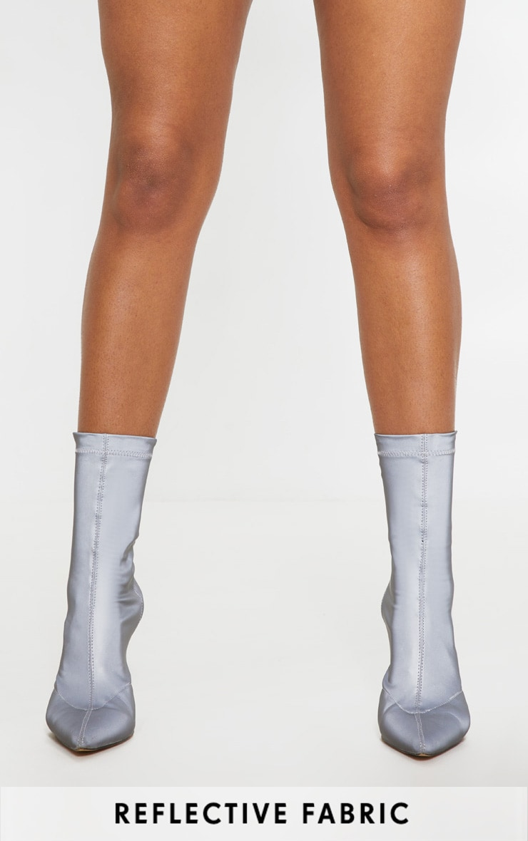 Grey Reflective Neoprene Heeled Sock Boot 2