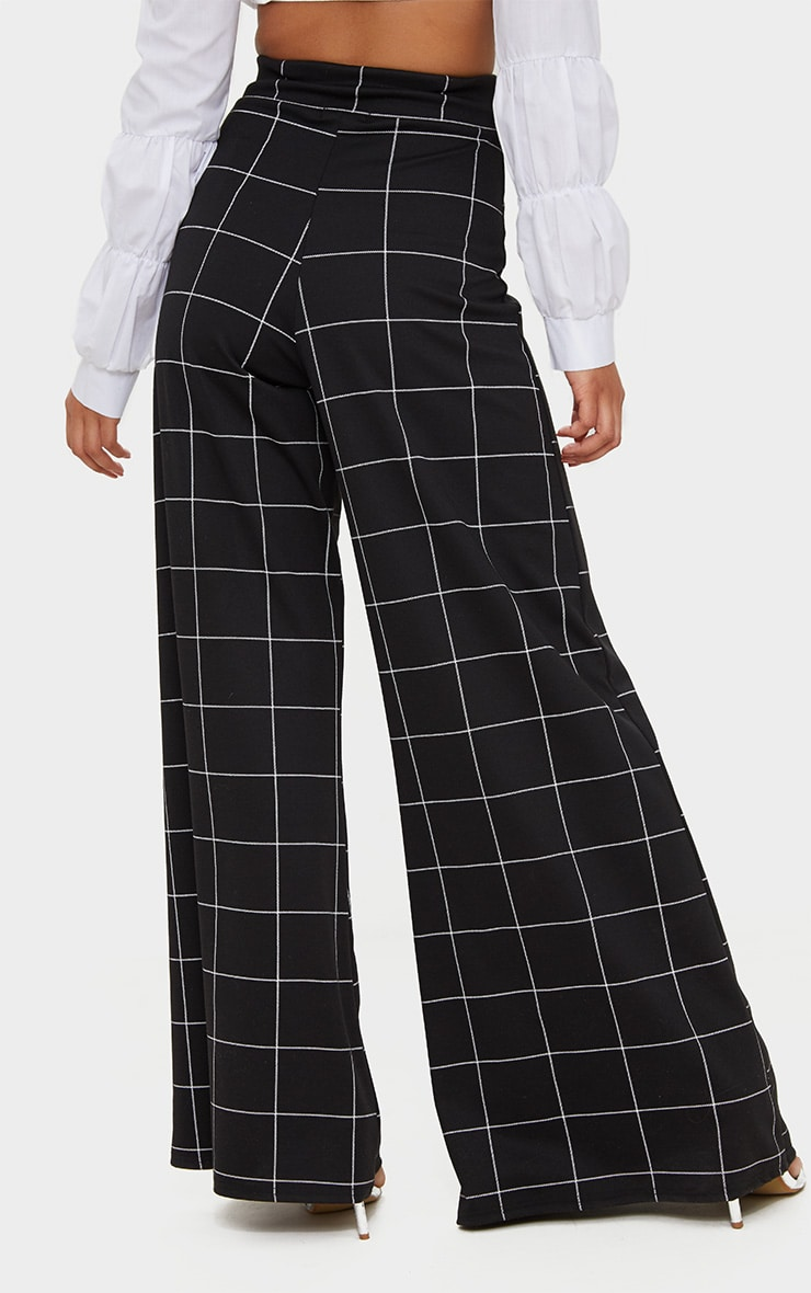 Black Window Check Belted Wide Leg Trousers 4